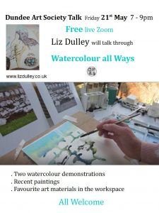 Talks - Liz Dulley 'Watercolour all Ways' @ Zoom - details supplied nearer the occasion